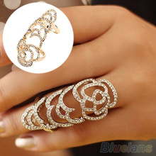 New Beautiful Fashion Silver Golden Color Joint Knuckle Crystal Ring B02 1KXQ