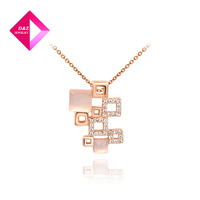 Rose gold pendant chain multiple squares combination necklace  on sale,necklace serices