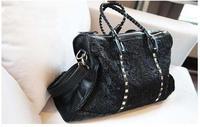Hot Sale Lace Rivet Black Vintage Handbags Shoulder Bag  Messenger Bags For Women Fashion Unique  Design Bolsas Femininas
