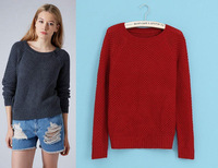 2014 winter women's elegant knitted pullover long-sleeve pullovers sweater for women casual ladies desigual slim grid sweaters