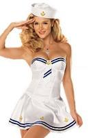 2014 Popular Makin' Waves Sexy Sailor Costume Adult Fancy Dress Seas Honey Costume Women White Sailor Costume Wholesale Retail