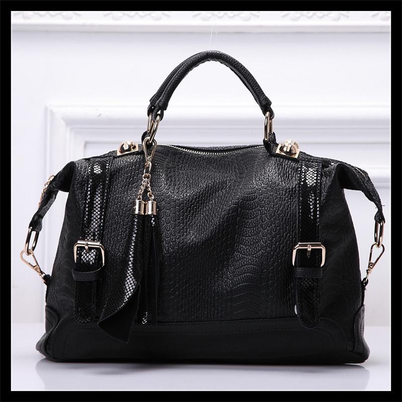 Fashion Super Star serpentine Handbag Women Shoulder handbags bags vintage tassel Ladies Messenger Cow Leather+PU Leather Bag(China (Mainland))