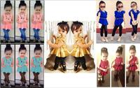 BCS083 Free shipping 2014 new baby girls fashion suits kids clothing sets shirt dress + legging pants children's suits retail