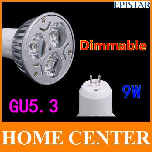 6 PCS GU5.3 9W Dimmable 3x3W warm cold white 810LM LED Lamp spot lighting 60W 220V 110V 240V 15 30 45 60 90 120 degrees(China (Mainland))