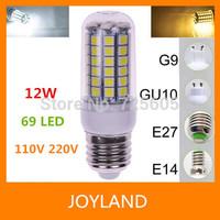E27 E14 B22 G9 GU10 SMD 5050 69 LED Corn lamp Light AC 220V 110V led lampada Bulb 12W white&warm white Free shipping