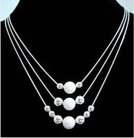 Free shipping No min order 925 SILVER Charm Bead Necklace Free shipping 925 sterling silver chain necklace