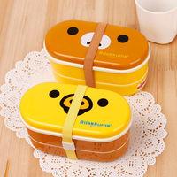 Yellow Microwave Rilakkuma Bento And Nostrils Chickens Multilayer Children Lunch Box