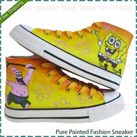 SpongeBob SquarePants Style Children's Fashion Casual Sneakers Hand Painted High Top Canvas Tide Shoes Street Star Kids Sneaker