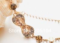 Brand Jewelry Bracelets Wholesale school girl Bowknot Crystals Gold Plated Fashion Lady Bracelets 2014