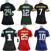 Women American Football Jersey 12 Aaron Rodgers 1 Cam Newton 24 Marshawn Lynch Ben Roethlisberger 10 Eli Manning Jamaal Charles