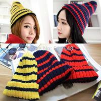 Adult Stripe Knitting Wool Beanies Hats Fluorescent Color Cap Women Skull Caps Free Shipping 5 PCS