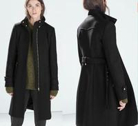 2014 Winter Women's woollen coats Long Trench casacos femininos Overcoat  For Women Desigual Ladies' Zipper Belt Desigual coat