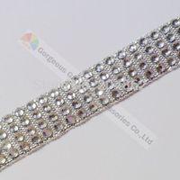 Free shipping 10yards/lot 4 row Sliver Tape clear crystal rhinestone ribbon diamante tape