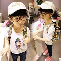 2014 spring and autumn girl T-shirt girl printing long sleeve T-shirt shirt GW417