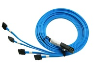 High Quality MiniSAS 36pin SFF-8087 to 7pin 4SATA 100cm 1M Data Cable Blue Color