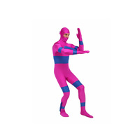 Fushia Blue Power Rangers Two Tone Lycra Spandex Zentai Superhero Bodysuit Unisex Halloween Costume