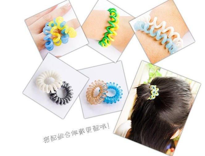 30pcs ree shipping hot sale Korea style Rope spiral shape plastic hair bands girls\kids hair tie(China (Mainland))