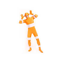 Orange Power Rangers Two Tone  Superhero Bodysuit Unisex Lycra Spandex Zentai Halloween Costume