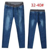 2014 new plus size 32-40# Elastic Waist Jeans Slim High Waist  Comfortable Casual Pencil Pants Women denim trousers skinny