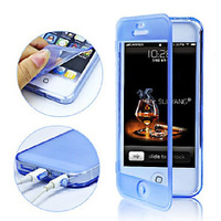 Touch Screen TPU Transparent Full Body Case for iPhone 4/4S(Assorted Color),stylish