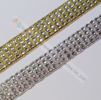 Free Express 100yards/lot 4 row Gold/Sliver tape clear crystal rhinestone diamante ribbon