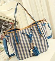 Women canvas handbag women shoulder bags Stripes Tassel Leather Lady messenger bags Totes bolsas femininas couro PL364#58