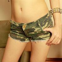 Women Camouflage Denim Shorts Woman's Short Jeans Print Pants Sexy Low Waist Skinny Trousers Cotton Slim Clubwear