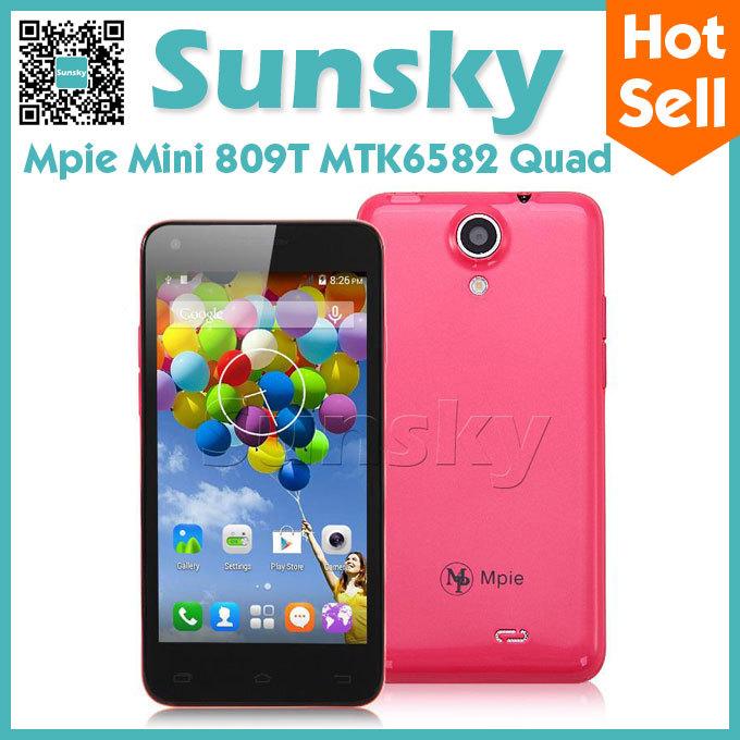 Original Mpie Mini 809T MTK6582 Quad Core Cell Phone Android 4.4 Smartphone 4GB ROM 4.5inch IPS Screen 5MP Camera 3G GPS OTG(China (Mainland))