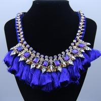 2014 navy tassel crysatl chain necklaces & pendants statement handmade flower collar choker necklace jewelry accessories 8420