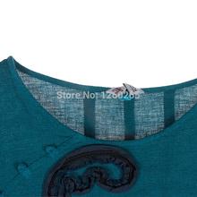 Jiqiuguer Original Design Long Sleeve Hand Applique Front Round Neck Blue Ombre Maxi Loose Women Batwing