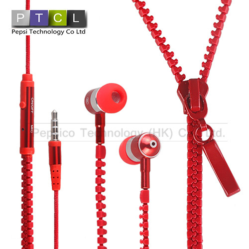 lanyard Zippers Fashion High Performance In Ear Headphones Earphones Headsets studio with Mic Drop Shipping(China (Mainland))