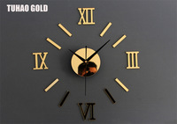 2014 top fashion wall clock roman numerals diy wall stickers room needle separates Acrylic Free Shipping