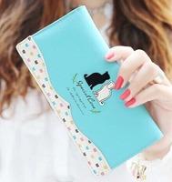 Women Wallets 2014 New Winter Fashion Original Dot Phone Black White Cat Lady  Mix Color Stitching Long Wallet Free Shipping