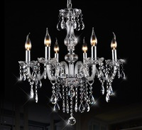 Modern 6 Bulbs European Candle Crystal Chandeliers Ceiling Lamp E14 LED Fixtures Dining Room Living Room Lobby Pendant Lights