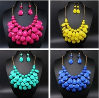 2014 New Fashion Chokers for Women Jewellery Acrylic Beaded Necklaces with Earrings