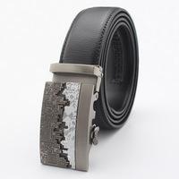 Men's Genuine Leather Business Tactical Belt Cinturon Black Buckle for Gift Cintos Men Belts pk481-T0