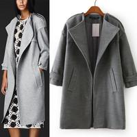 2014 Winter Women's woollen coats with dovetail Long Trench cardigans Overcoat  For Women Desigual Ladies' epaulet coat