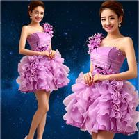 2014 Candy Color Crystal Appliques Flower One Shoulder Design Bridesmaid Dresses Lace Up Plus size Party Dress Women