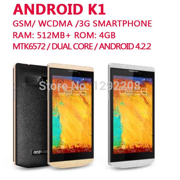 Original manufacturer Phone K1 Android 4.2.2 MTK6572 Dual Core 4.3 inch QHD RAM 512MB ROM 4GB Dual SIM standby WCDMA Smartphone(China (Mainland))