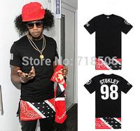 Stokley 98 letter Paisley Bandana print shirt West HIP HOP patch allover lengthen tops tee side zipper streetwear shirt freeship