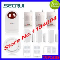 Kerui security alarm Wireless Strobe Siren+wireless smoke sensor+remote controller+Wireless Door Sensor+Wireless PIR Detector