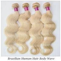 """Elites Hair Blonde Brazilian Virgin Hair Extensions Body Wave 4 Bundles 100% Human #613 Virgin Hair Weave Weft 12""""-26"""""""