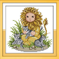 NEW !!11CT 14CT   Baby Loins Patterns Counted Cross Stitch DIY DMC Cross Stitch Sets Embroidery Kits Wall Home Decor Needlework