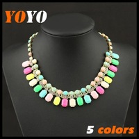 2014 New Water Drop Imitation Gemstone Necklaces & Pendants Statement Collar Short Necklace For Women Costume Accessories