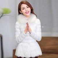New 2014 Fashion Winter Women's Slim Thickening Warm Duck Parka Overcoat Elegant Ladies Large Fur Collar Down Jacket JC041