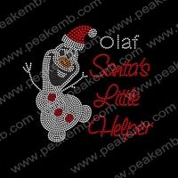 Free Shipping 50pcs/Lot Santa's Little Helper Oalf Rhinestone Heat Transfers Custom Christmas Designs