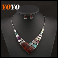 New Fashion Brand Imitation Gemstone Necklaces & Pendants Ladies Necklaces For Women 2014 Necklace + Earrings Jewelry Sets