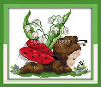 NEW !!11CT 14CT Baby Ladybug Patterns Counted Cross Stitch DIY DMC Cross Stitch Sets Embroidery Kits Wall Home Decor Needlework