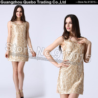 New Fashion Ever Pretty Sequin Beading Casual Summer Dress 2015 Women Sexy Elegant Clothing Party Formal Club Vestidos QBD101