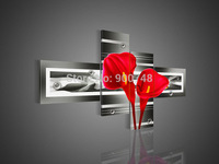 Hand Painted Flower Oil Painting On Canvas Red Lily Modern Art Hotel Home Decoration 4 Pieces Painting Free Shipping